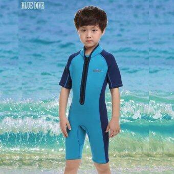 2mm Neoprene Child Boys Front Zipper Shorty Wetsuit Swimsuit Kids Short Sleeve Swimwear Snorkeling Diving Suit - blue - intl