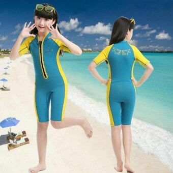2mm Neoprene Child Girls Front Zipper Shorty Wetsuit Swimsuit Kids Short Sleeve Swimwear Snorkeling Diving Suit - yellow - intl