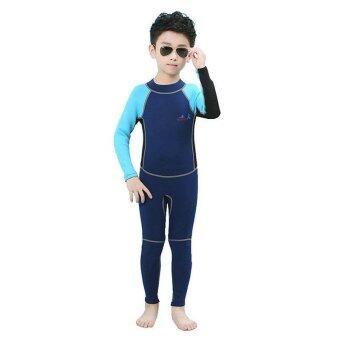 2mm Neoprene Kids Boy's Back Zipper Wetsuit Full Body Swimsuit Child Snorkeling Diving Full Wet Suit Swimwear - blue - intl