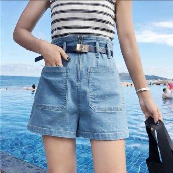 2NE1 High waisted Jeans Shorts wide leg pants shorts Blue - intl