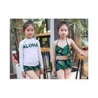 ชุดว่ายน้ำเด็กผู้หญิง เซ็ต 3 ชิ้น Aloha Green ใส่ได้ 2 แบบ # H60