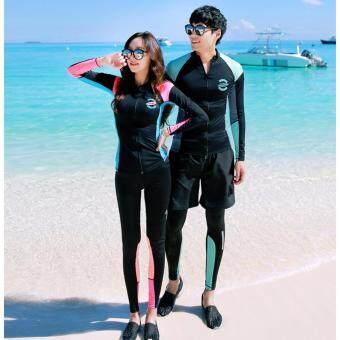 ชุดว่ายน้ำชาย เซ็ต 3 ชิ้น เสื้อแขนยาว กางเกงขาสั้น และกางเกงขายาว Apple ไซต์ XL-3XL # 3023