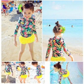 3pcs Little Girls Floral Sun Protection Swimsuit Set Swimwear for Girl 2-14 Years Old (Yellow) - intl - 5