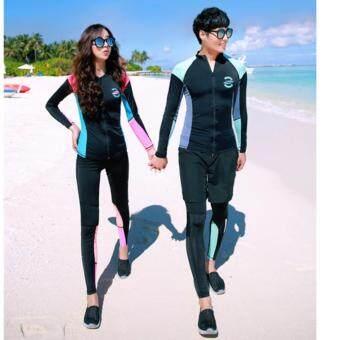 ชุดว่ายน้ำหญิง เซ็ต 4 ชิ้น บรา เสื้อแขนยาว กางเกงใน และกางเกงขายาว Apple ไซต์ M-XL # 3022