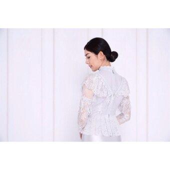 ชุดไทย ชุดเจ้าสาว ชุดเพื่อนเจ้าสาว ชุดลูกไม้ชุดไทยประยุกต์สมัยรัชกาลที่ 5.-สีเทา