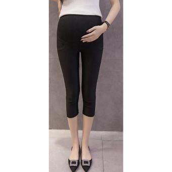 กางเกงคนท้อง 5 ส่วน เซ็ต 2 ตัว สีดำ/น้ำเงิน ผ้าไม่หนา ไม่บาง ใส่สบาย มีสายปรับเอว M-XXL # 5156 - 2