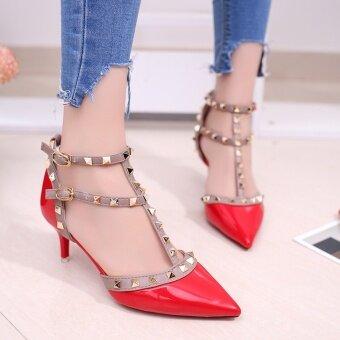 5cm รองเท้าแตะเกาหลีรองเท้าส้นสูงหมุดดีกับคำว่า (สีแดงคู่กับ 5.5 ซม. มาตรฐาน)