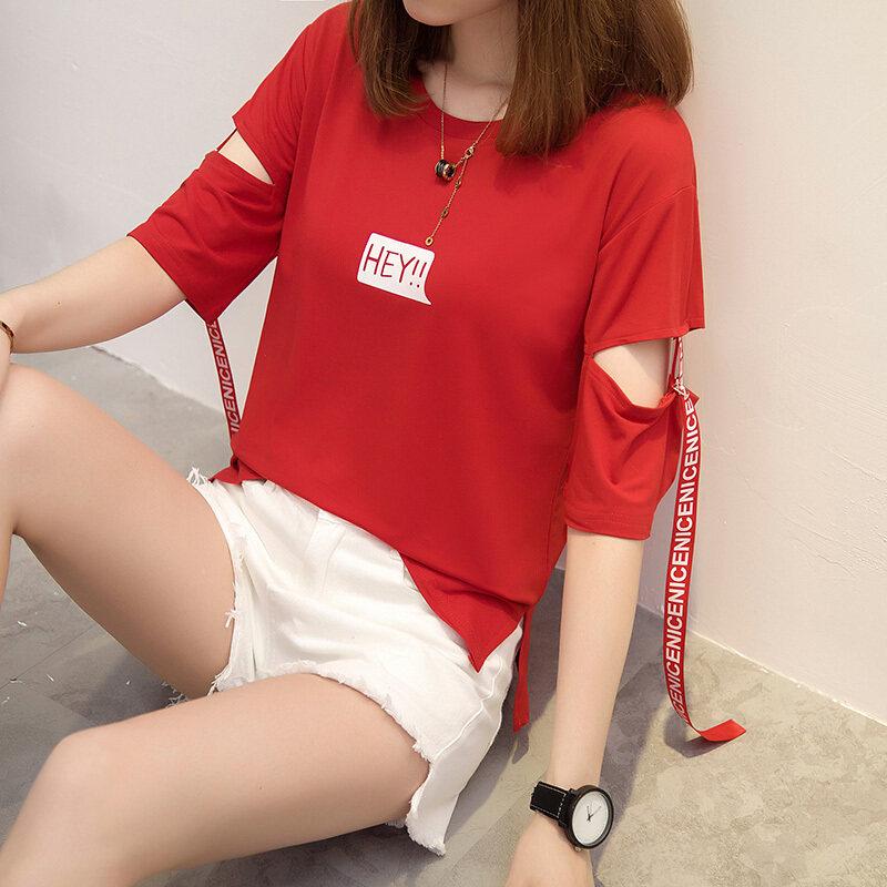 ฮาราจูกุเกาหลีใหม่ลมลอยเทปเสื้อยืด (613 * * * * * * * สีแดง)