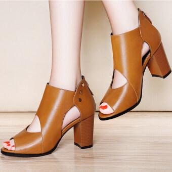 LAIKAJINDUN รองเท้าส้นสูงเปิดนิ้วเท้า สีอูฐ/สีน้ำตาลอ่อน/สีดำ (ไลคร่า 6225 อูฐ) (ไลคร่า 6225 อูฐ)