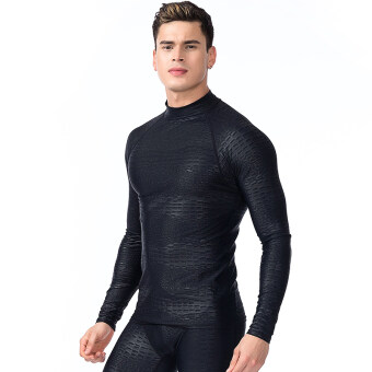 ผู้ชายแขนสั้นอบอุ่นแขนยาวชุดว่ายน้ำ (719 แขนยาวสีดำเสื้อ)