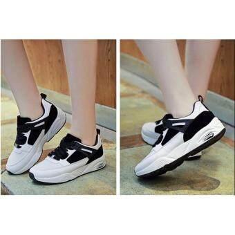 รองเท้าผ้าใบแฟชั่นผู้หญิงสไตล์เกาหลี 802 สีขาว/ดำ