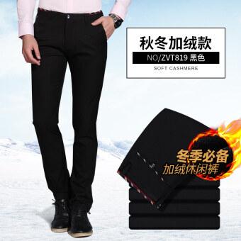 ผู้ชายฤดูหนาวใหม่กางเกงลำลองผู้ชายกางเกง (819 บวกกำมะหยี่/สีดำ)