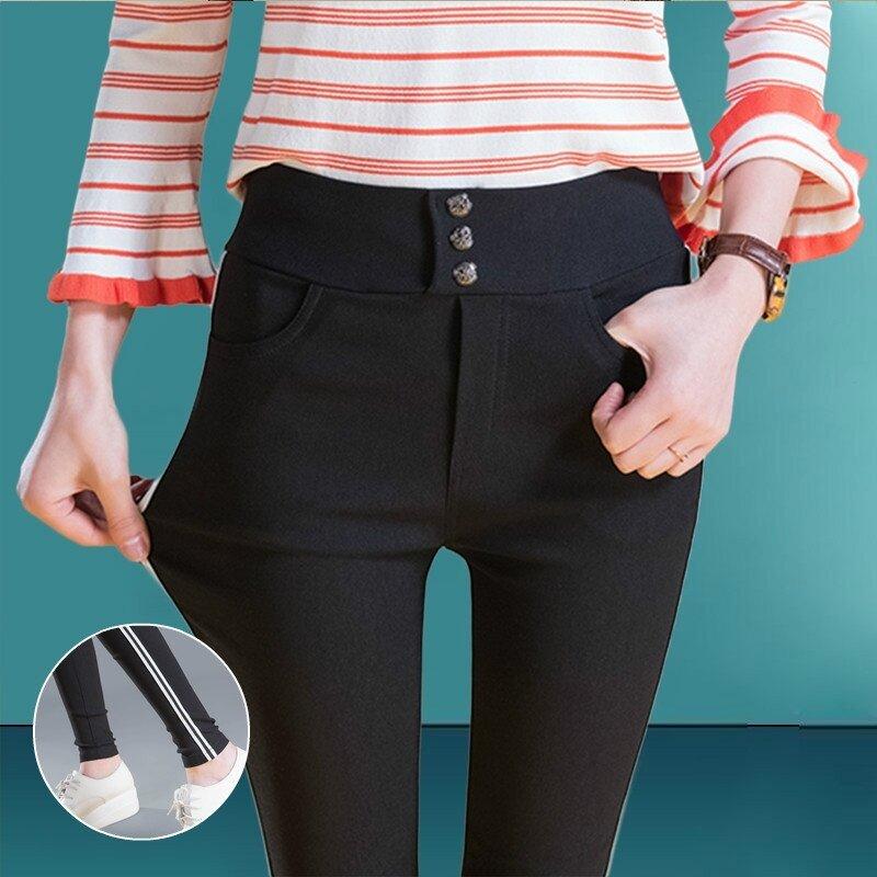 ขนาดใหญ่เป็นบางถุงน่องกางเกงแน่นกางเกง (สีดำ 858)