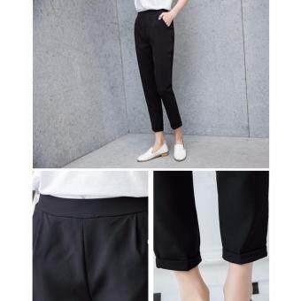กางเกงขายาว 9 ส่วน ทรงกระบอกเล็ก ผ้า Poly+Spendex เอวยางยืด สีดำ ไซต์ S-3XL # 1002 - 4