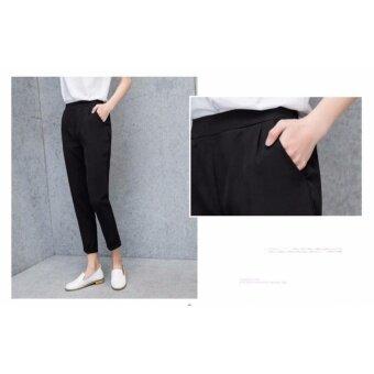 กางเกงขายาว 9 ส่วน ทรงกระบอกเล็ก ผ้า Poly+Spendex เอวยางยืด สีดำ ไซต์ S-3XL # 1002 - 5