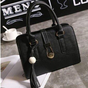 รีวิวพันทิป กระเป๋าสะพายข้าง กระเป๋าเป้ผ้าไนลอน SKN607 Premium PULeather Crossbody Bag A-10017(black)