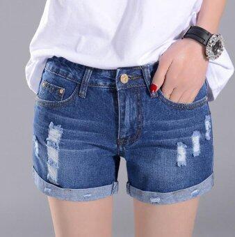A piatter Korean women were thin denim shorts Dark blue - intl - 3