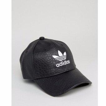 Adidas Originals Crackled Leather Logo Cap/สีดำ ของแท้ Cracked faux-leather