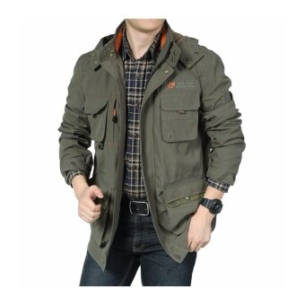 AFS JEEP men spring and autumn jacket men leisure long section oflarge size outdoor jackets fashion coat- Army green - intl
