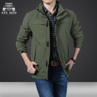 AFS JEEP men's outdoor mountaineering large size waterproof breathable jackets(Green) - intl