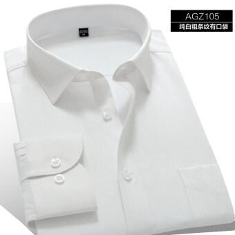 ถั่วพลังฤดูใบไม้ร่วงผู้ชายเสื้อเชิ้ต (AGZ105 สีขาวลายเส้นหนามีกระเป๋า)