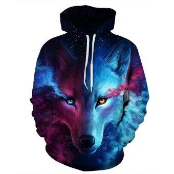 AIBO New Style Wolf Unisex Realistic 3d Digital Pullover Sweatshirt Hoodie Hooded Sweatshirt - intl