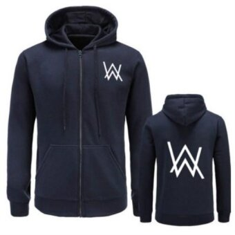 Alan Walker Faded Hoodie The Same Paragraph Set Head Hooded Hip HopSweater Zipper Coat(Navy Blue) - intl