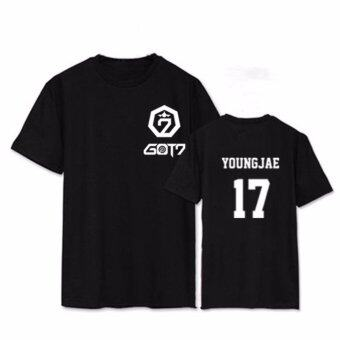 ALIPOP Kpop GOT7 Concert YOUNGJAE Album Shirts K-POP Casual CottonClothes Tshirt T Shirt Short Sleeve Tops T-shirt DX415 (Black) -intl