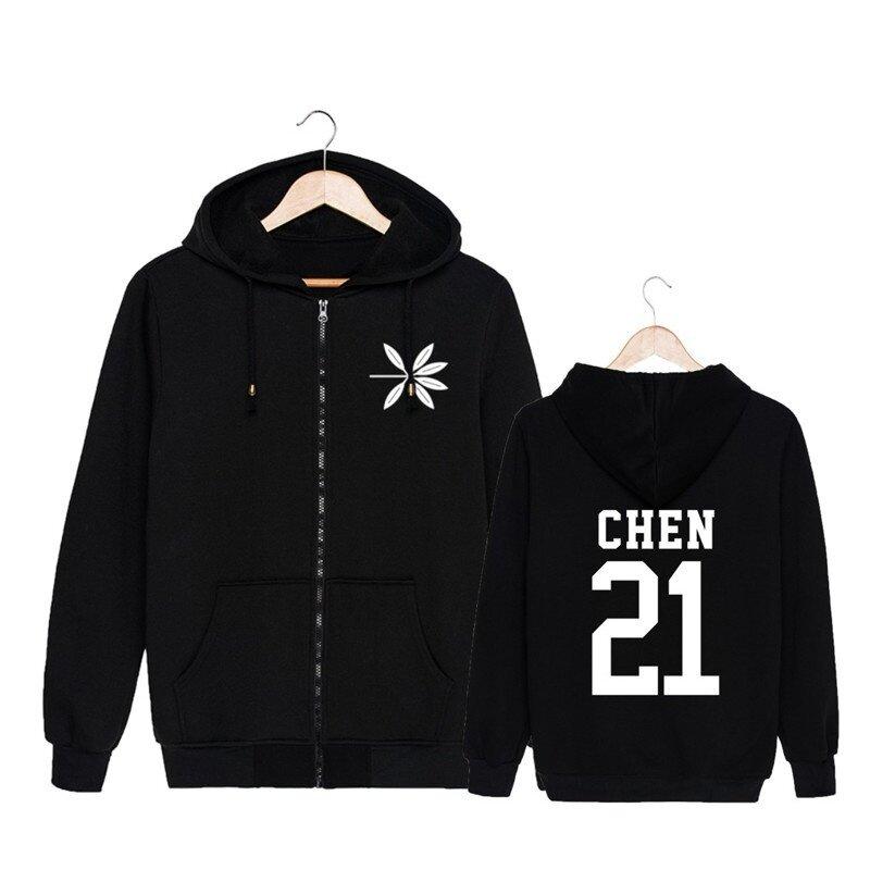 ALIPOP KPOP Korean Fashion EXO 4th Album THE WAR Cotton Zipper Autumn Hoodies Zip-up Sweatshirts PT537 ( CHEN Black ) - intl
