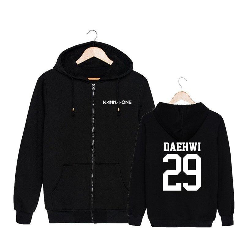 ALIPOP KPOP Korean Fashion Wanna One WannaOne Cotton Zipper Autumn Hoodies Zip-up Sweatshirts PT570 ( DAEHWI Black ) - intl