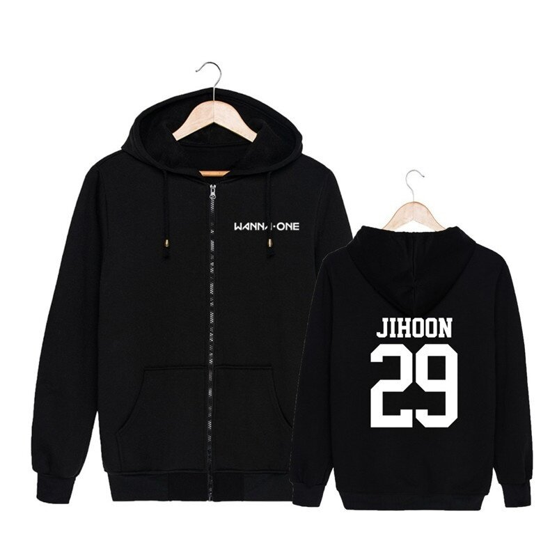 ALIPOP KPOP Korean Fashion Wanna One WannaOne Cotton Zipper Autumn Hoodies Zip-up Sweatshirts PT570 ( JIHOON Black ) - intl