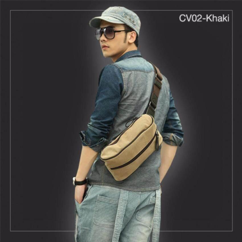 Allday CV02-Black กระเป๋าสะพายไหล่ กระเป๋าคาดอก ผ้าแคนวาส สีดำ กระเป๋าผู้ชาย