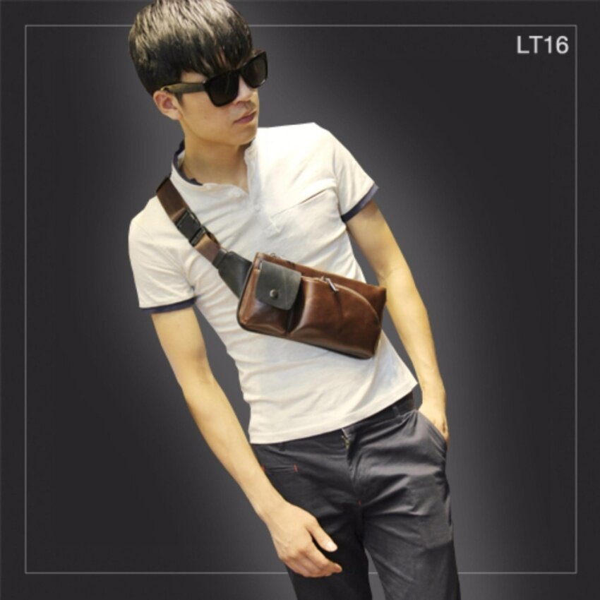 Allday LT16-Black กระเป๋าคาดอก กระเป๋าคาดเอว หนัง PU สีดำ กระเป๋าผู้ชาย