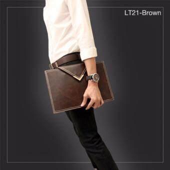 รีวิว LT21-Brown กระเป๋าถือ กระเป๋าคลัช ผู้ชาย A4 หนัง Crazy HorsePU สีน้ำตาลกาแฟ กระเป๋าผู้ชาย(Int: One size)