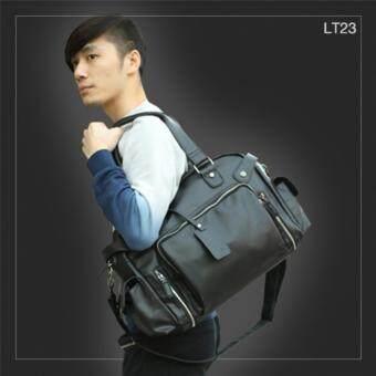 ลดราคา LT23 กระเป๋าสะพายข้าง หนัง PU สีดำ กระเป๋าผู้ชาย