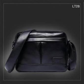 LT28 กระเป๋าสะพายข้าง หนัง PU สีดำ กระเป๋าผู้ชาย