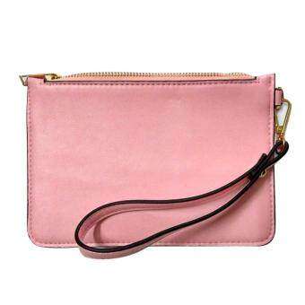 Allwin Retro Women PU Leather Messenger Wristlet Clutch Pouch Bag Purse Zip Wallet Pink - intl