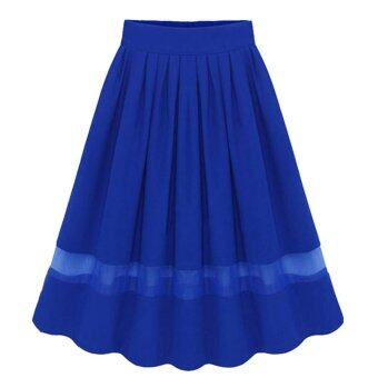 Harga Amart Elegant Organza Silk Pleated Skirts(Blue)