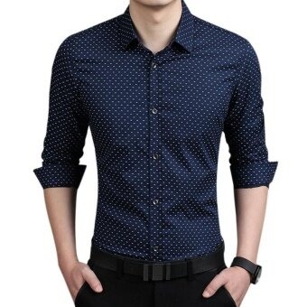 Amart Fashion Men Slim Long Sleeve Shirt Polka Dot Casual BusinessShirt(Navy Blue) - intl