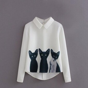 Amart Fashion Summer Women Blouse Long Sleeve 3 Cats BlendingPattern Casual Shirt - intl