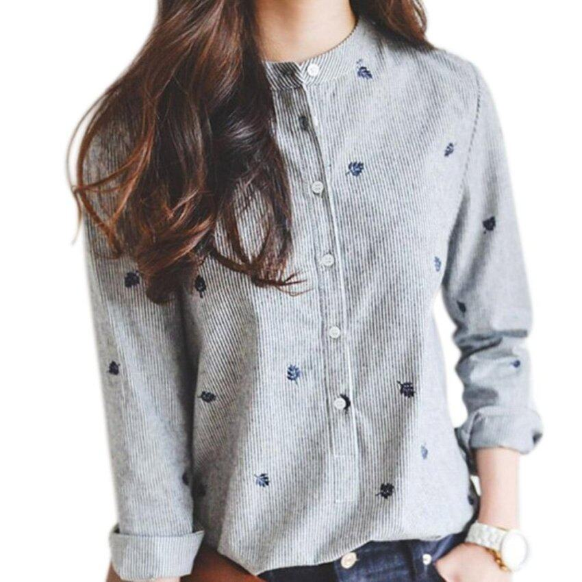 Amart Fashion Women Blouses Leaves Embroidery Long Sleeve Blouse Casual Striped Shirt Tops - intl