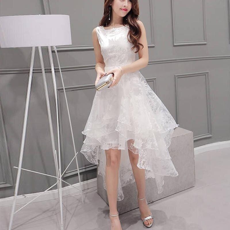 Amart Fashion Women Dresses Organza Solid Color Sleeveless Casual Summer Fluffy Irregular Hem Dress Plus Size - intl