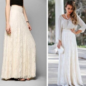 Amart Fashion Women Summer Long Skirts Lace High Waist A LineSkirts - intl