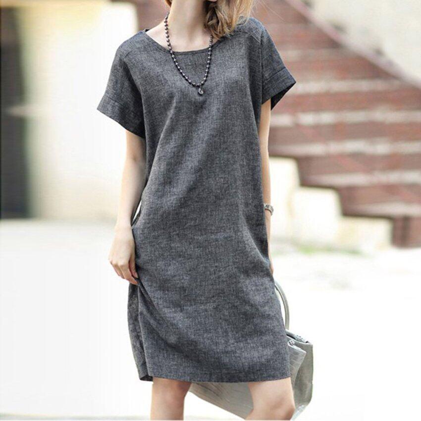 Amart Flax Dress Comfort Loose Dress Plus Size Dress - intl