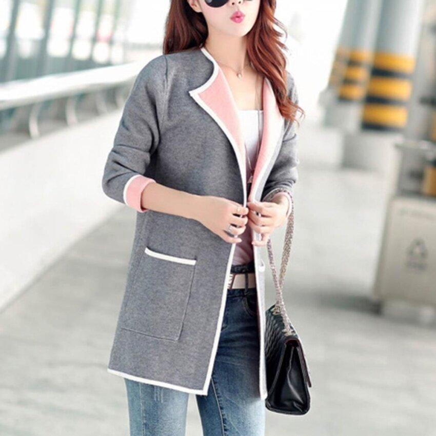 Amart Korean Women Long Sweater Autumn Spring Patchwork Full Sleeve Slim Pocket Knitted Cardigan Sweaters (Grey) - intl