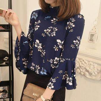 Amart New Fashion Summer Women Chiffon Floral Blouses Three QuarterHorn Sleeves Casual Shirt(Blue) - intl