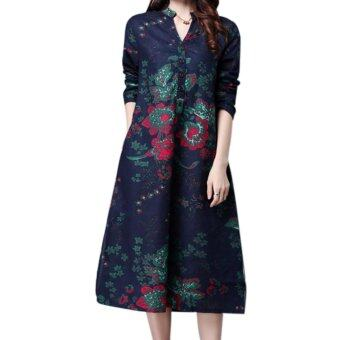 Amart Retro Women Loose Cotton Dresses Long Sleeve Flower PrintedDress Ethnic Dresses - intl