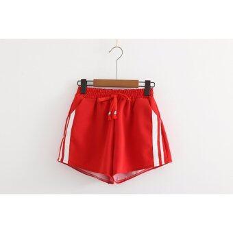 AMINAกางเกงวอมร์เอวยืดขาสั้นติดแถบรุ่นยอดนิยมสีแดง - 2