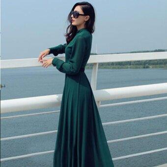 Andaman เดรส ผ้าชีฟอง แบบบานสไตล์ยุโรป (สีเขียว)