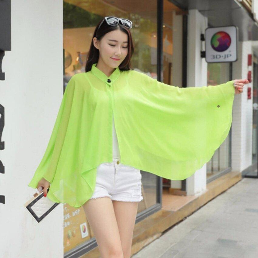 ANGANG เสื้อคลุมไหล่แฟชั่นผ้าชีฟอง เสื้อคลุมแฟชั่น - สีเขียว